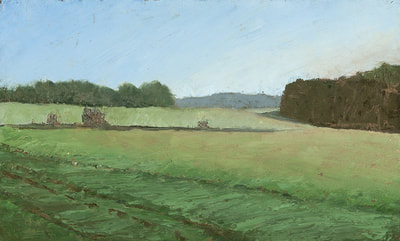 Green Fields, Landscape, Oil Painting By Linda Staiger