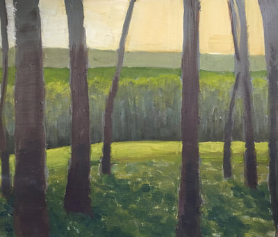 Tall Trees, Sunny Day, Forest Landscape, Original Artwork