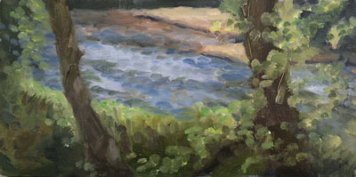 Oil Painting On Canvas, Riverbank, Staiger Studio