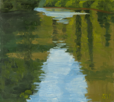 Water Reflection Painting, Oil On Canvas, 434-962-8463