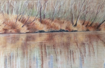 Stunning Oil Painting, River During Autumn, 434-962-8463